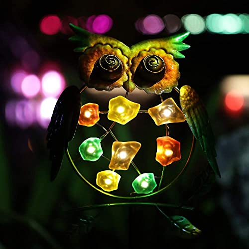 Joyathome Metal Owl Solar Stake Lights Garden Owl Solar Lights Outdoor Solar Powered Decoratvie Garden Lights for Walkway Pathway Yard Lawn