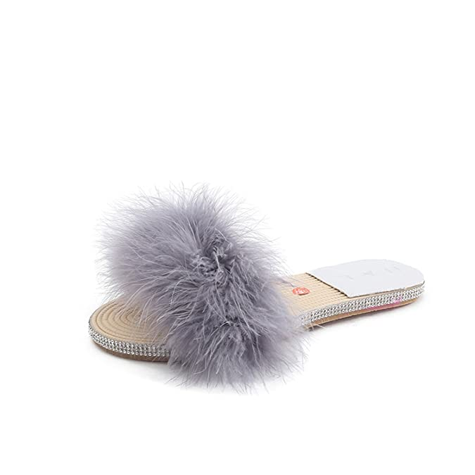 f1f795250f75 Kingwhisht women slippers Fur Slipper Glitter Flat Shoes Fox Fur Slides  Candy Color Outside Slipper  Amazon.ca  Shoes   Handbags