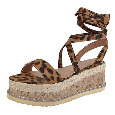 8ba4bd93018af Amazon.com: Women's Ladies Strap Ankle Leopard Platform Wedges Woven ...