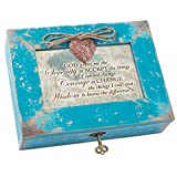 Cottage Garden God Grant Serenity Teal Distressed Locket Music Box Plays How Great Thou Art