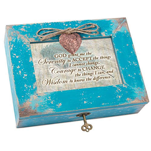 Cottage Garden God Grant Serenity Teal Distressed Locket Music Box Plays How Great Thou Art by Cottage Garden
