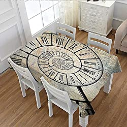 Clock Dinner Picnic Table Cloth A Roman Digit Time Spiral on the Vintage Textured Background Design Passing of Time Print Waterproof Table Cover for Kitchen Sepia 60x84