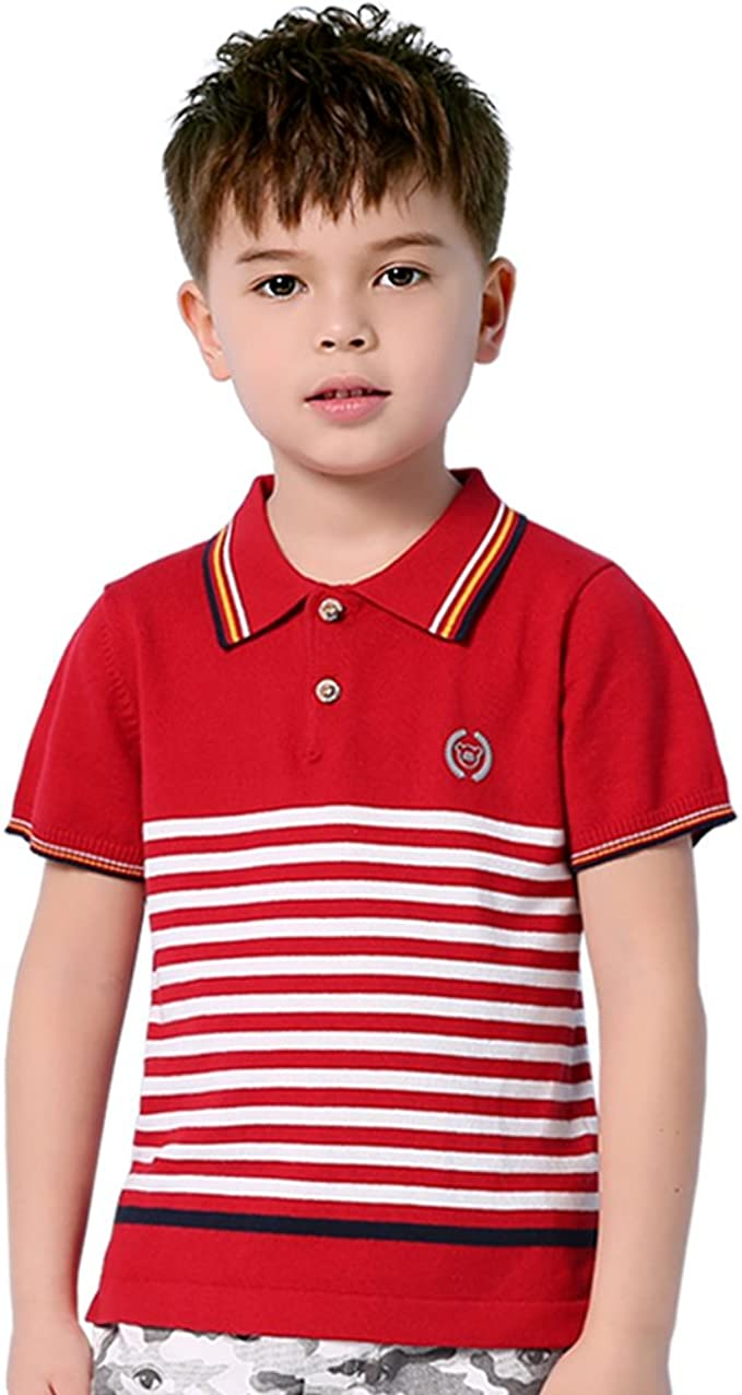 mimixiong - Polo - Rayas - con botones - para niño Rojo rosso ...
