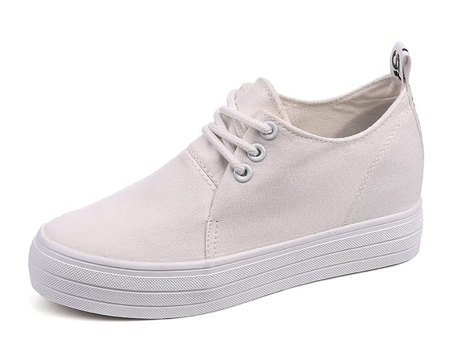 Aisun Women's Casual Round Toe Thick Sole Elevator Hidden Wedge Platform Lace Up Sneakers Canvas Shoes