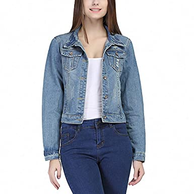 Lana&Kalf Denim Jacket Women Long Sleeve Hole Short Jeans Jacket Chaquetas Mujer Blue S