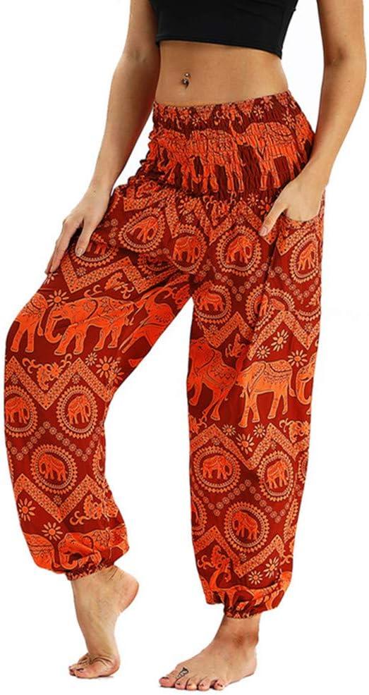 Exotic Boho Yoga Trousers Casual Elephant Mural Printed Hippie Pants Elastic Sport Fitness Running Dancing Wide Leg Pants Enhome Womens Loose Harem Pants