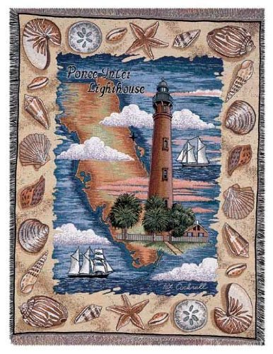 Simply Home Ponce Inlet Florida Lighthouse Colorful Tapestry Throw Blanket 50