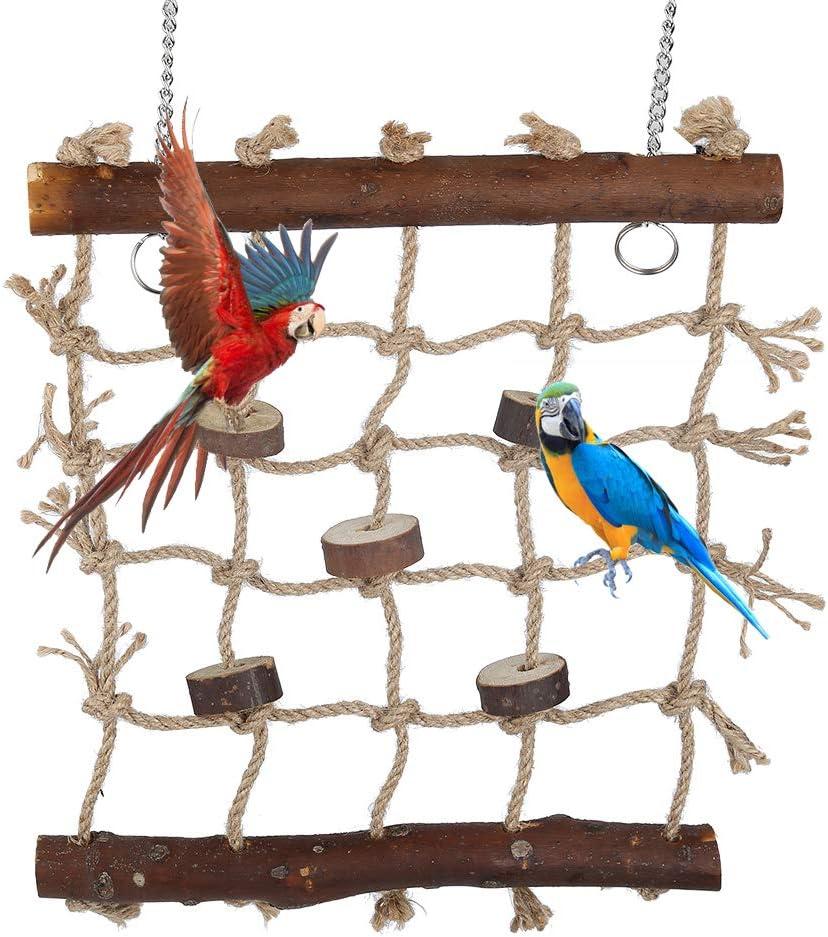 KaariFirefly Parrot Bird Parakeet Hanging Rope Climbing Net Swing Ladder Play Gym Pet Toy