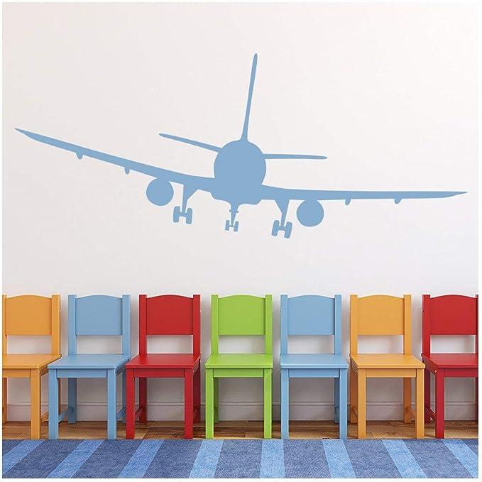 azutura Avión de pasajeros Vinilos Aviones Pegatina Decorativos Pared Chicos Dormitorio Decoración Disponible en 5 tamaños y 25 Colores Pequeño Negro: Amazon.es: Hogar