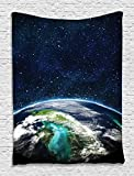 Ambesonne Modern Abstract Space Moon Universe Decorations Collection, Giclee Art Prints of Galaxy Nebula Earth and Stars, Bedroom Living Kids Girls Boys Room Dorm Accessories Wall Hanging Tapestry