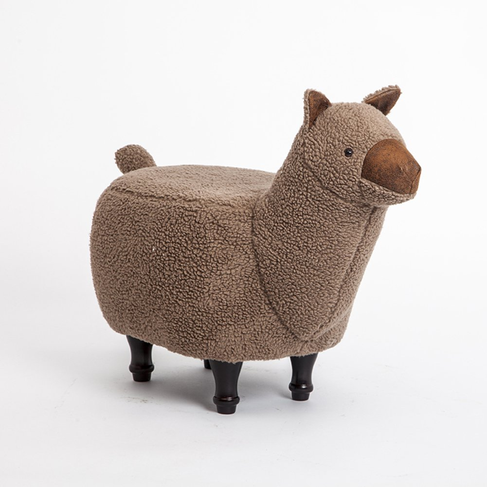 Footstool/ stool / changing shoes, alpaca shape, creative, cute/ home decoration, children's toys, gifts-brown