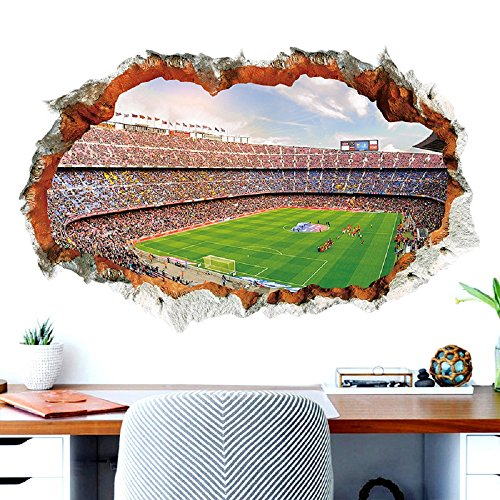 DaGou 3D Football Field Wall Sticker Home and Room Wall (Hand Painted Field Tile)
