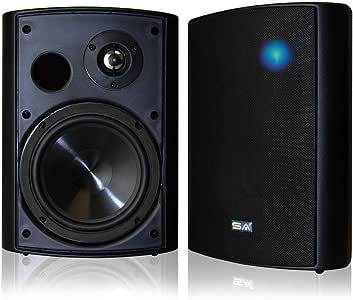 """Wireless Streaming 6.50"""" Indoor/Outdoor Weatherproof Patio Speakers, Bluetooth Speaker (Black - Pair) by Sound Appeal"""