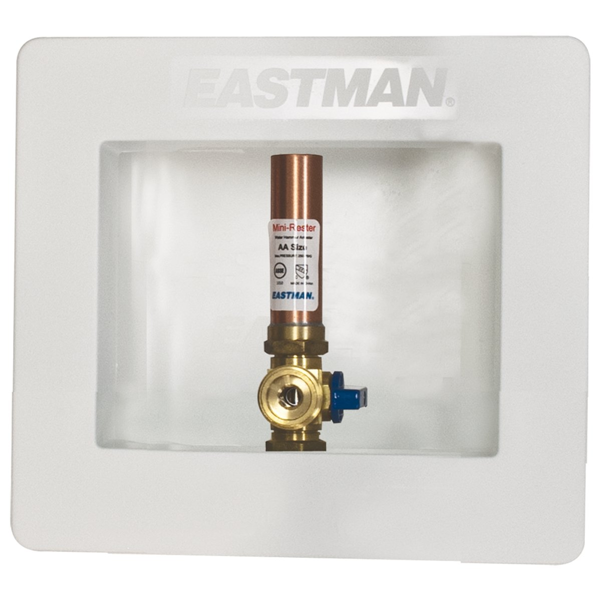 Eastman 60242 Pre-assembled Ice Maker Outlet Box, 1/2-Inch Crimp PEX Connection with Installed 1/4-Turn Ball Valve and Hammer Arrester, White