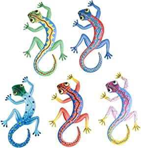 MYJAQI 5 Pcs Metal Gecko Wall Decor - 12 Inch Gecko Art Wall Decorations for Outdoor Backyard Porch Home Patio Lawn Fence Decorations Wall Sculptures