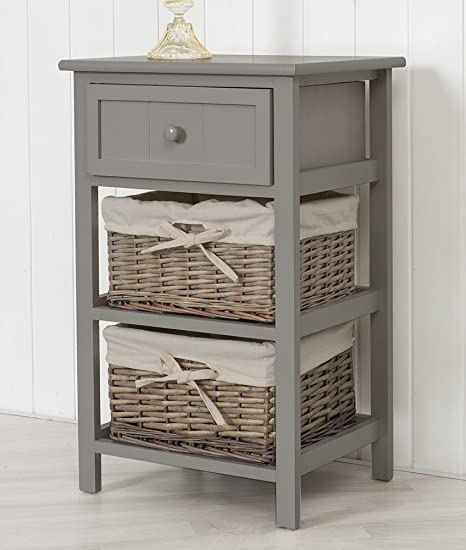 Sue Ryder Tall Grey Bedside Unit Table 2 X Wicker Storage Drawers