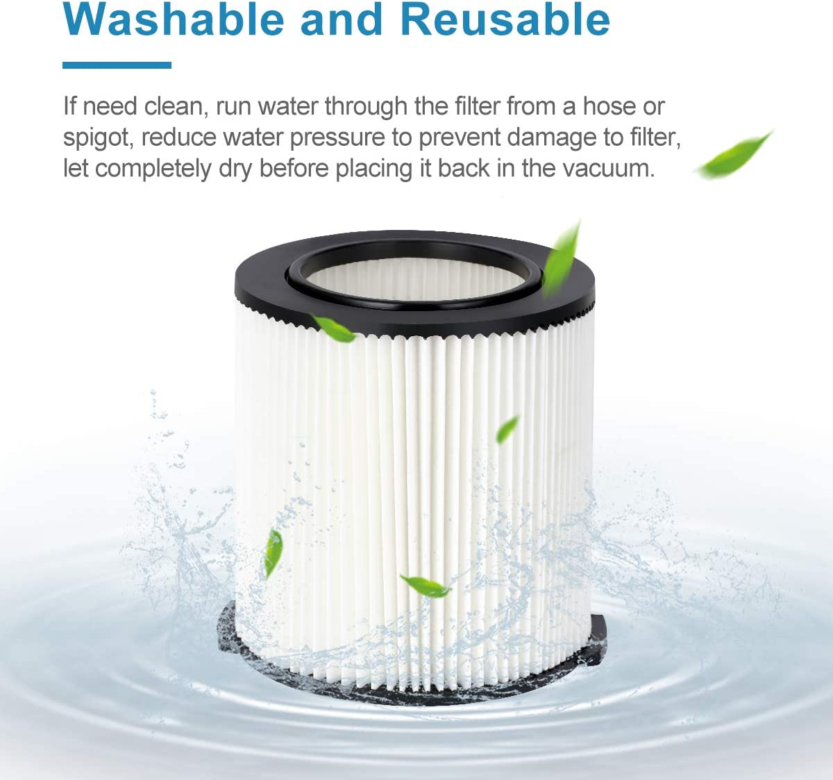 LANMU Replacement VF4000 Filter Compatible with Ridgid 5 to 20 Gal Wet//Dry Vac Husky 6 to 9 Gal Craftsman 17816 Vacs