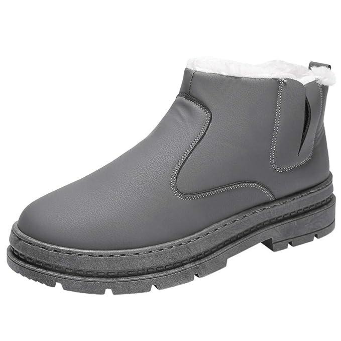 Botas para Hombre ZARLLE Hombre Mujer Botas de Nieve Antideslizante Calientes Fur Botines Forradas Cortas Boots
