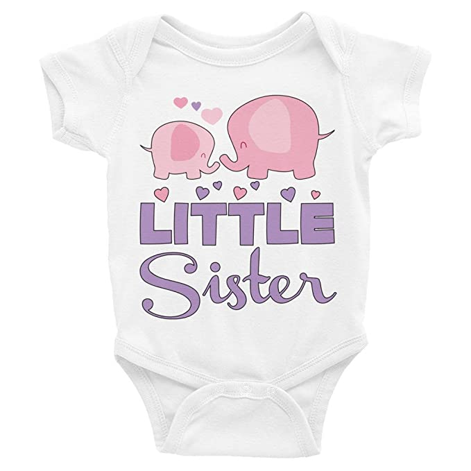 cb13165f3 Amazon.com: Promini Cute Baby Onesie - Elephants Little Sister - Baby  Bodysuit Cute Infant One-Piece Bodysuit Best Gift for Baby: Clothing