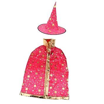 Zauberer-Kostüm für Halloween, Umhang mit Sternen, Hexenhut für ...