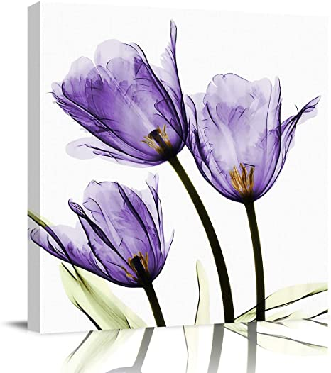 Amazon Com Sailground Canvas Print Wall Painting Purple Tulip Flower Oil Painting Artwork Print On Wrapped Canvas For Bedroom Living Room 16x16 Inch Posters Prints