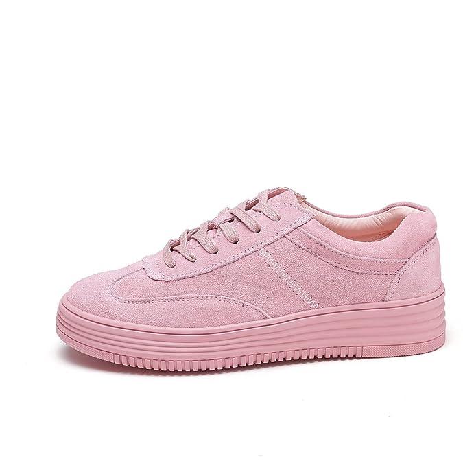 Shenn Damen Plateau Schnüren Beiläufig Leder Mode Turnschuhe(Pink,EU35.5)