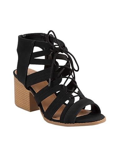 71cf9d5310e96 Amazon.com   Qupid Lace Up Mauve Heeled Sandals   Sandals