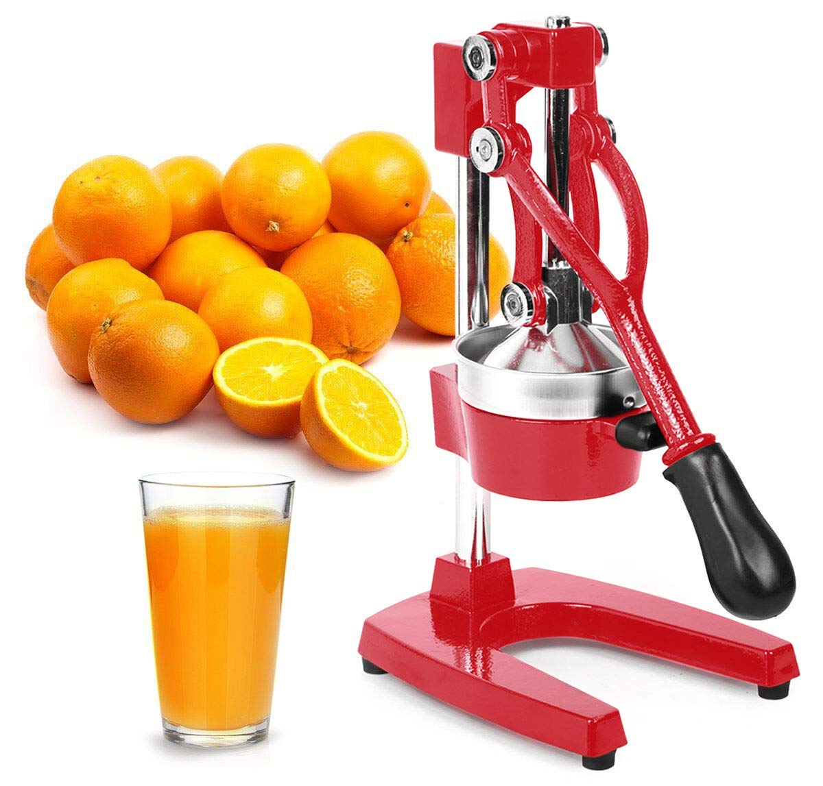 Zulay Professional Citrus Juicer - Manual Citrus Press and Orange Squeezer - Metal Lemon Squeezer - Premium Quality Heavy Duty Manual Orange Juicer and Lime Squeezer Press Stand, Red