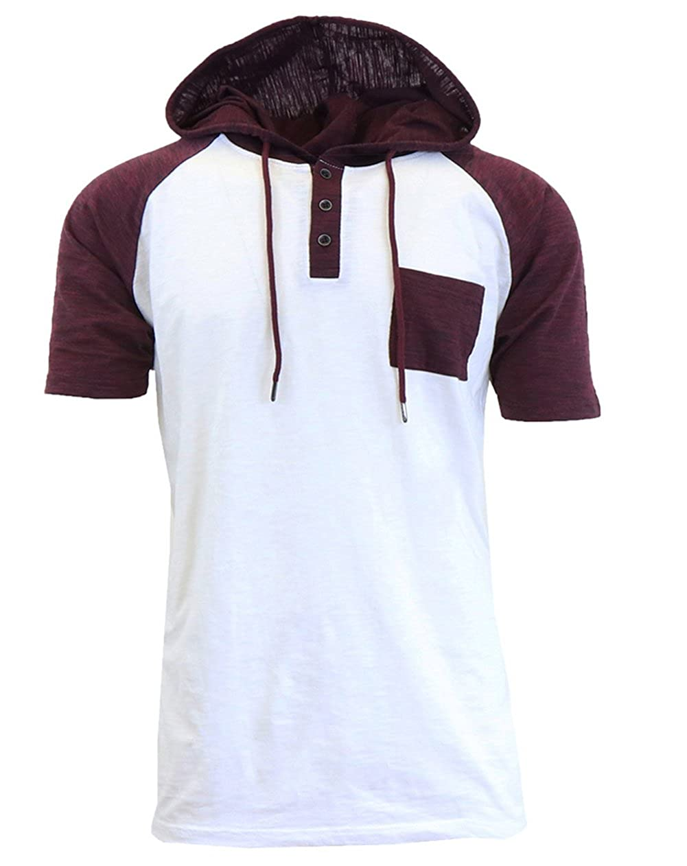 XARAZA Men's Short Sleeve Henley Neck Longline Hoodie T-Shirt
