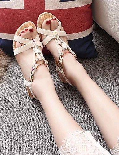LFNLYX Zapatos de mujer-Tacón Cuña-Cuñas / Punta Abierta / Punta Redonda-Sandalias-Exterior / Casual-Semicuero-Negro / Beige Black