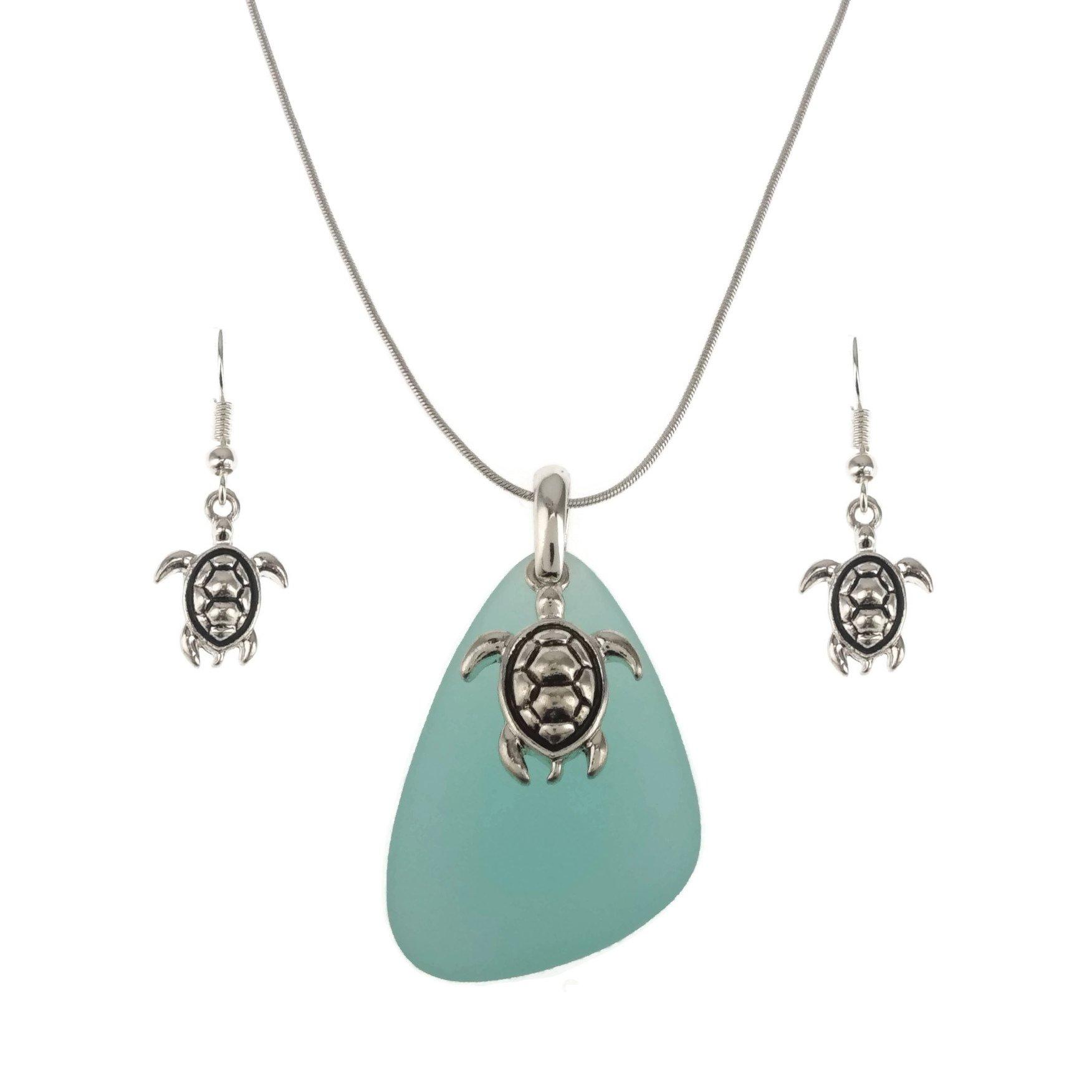 Blue Sea Glass Pendant Long Necklace 27'' and Earrings Set (Turtle - Aqua)