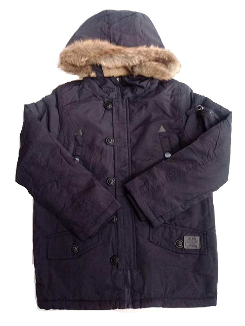 GladRags Boys Padded Parka Faux Fur Hood Size 3 4 5 6 7 8 Years Navy Black