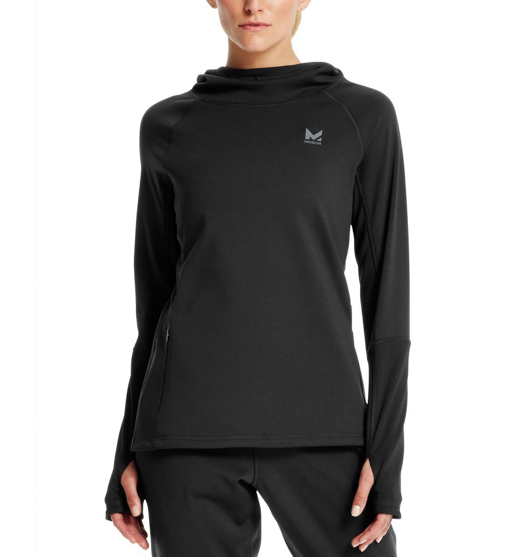 Mission Women's VaporActive Gravity Fleece Pullover Hoodie, Moonless Night, Large