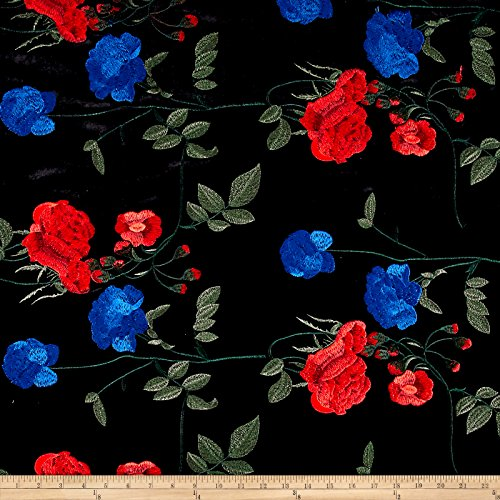 TELIO 0547234 Bouquet Knit Velvet Floral Embroidered Black/Royal Fabric by The Yard