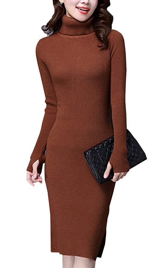 Gihuo Womens Long Sweater Dresses Slim Women Turtleneck Sweater Dresses Thumb Hole Slit