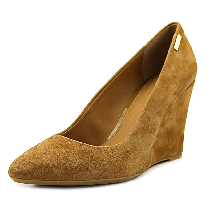 Calvin Klein Womens Celeste Suede Closed Toe Classic Pumps Tan Size 7.5