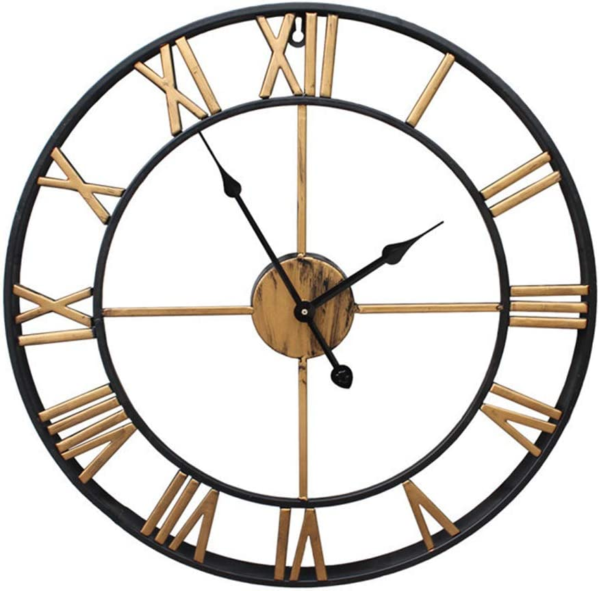 Sept.Filles Reloj de Pared silencioso con números Romanos Abiertos de Metal, Reloj de Esqueleto Redondo de Hierro