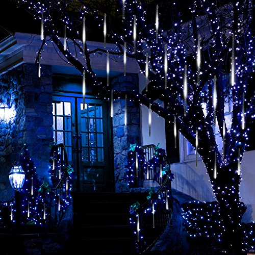 Anlising Falling Rain Lights, Meteor Shower Led Rain Lights 8 Tubes 136 LED(11.8 inch/Tube) Icicle Snow Falling Rain drop Lights for Wedding Party Holiday Christmas Home Garden Tree Decoration (White) ()