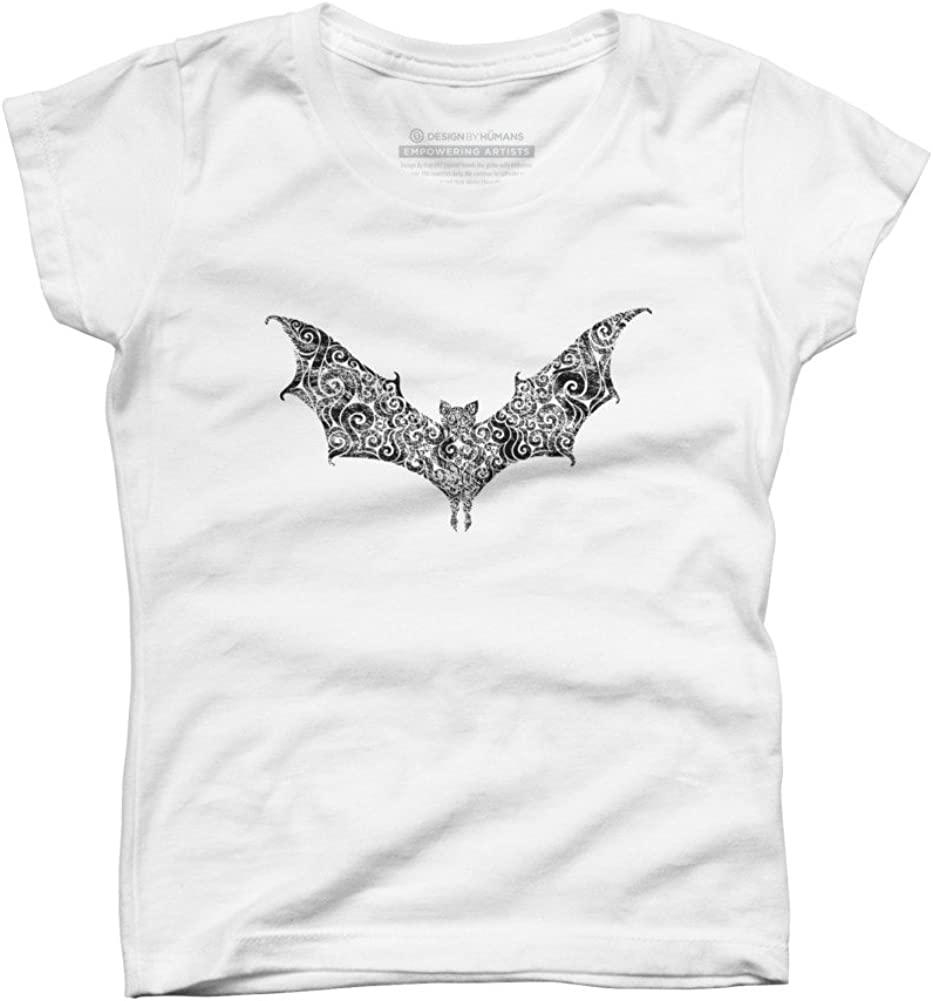 Design By Humans Swirly Bat Girls Youth Graphic T Shirt