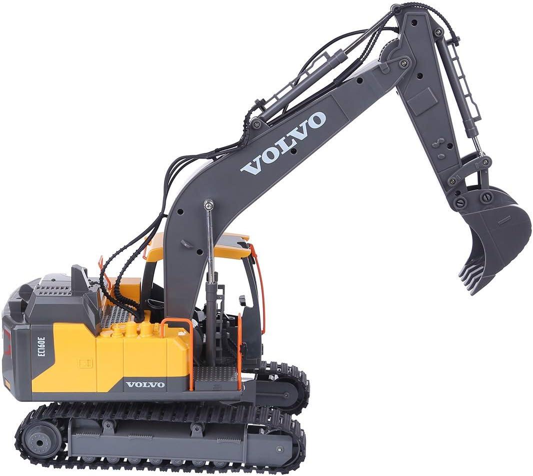 Teakpeak RC Excavator Tracks 2.4G Remote Control Excavator Toy Construction Excavator Navvy Construction Vehicle Toys for 3 Year Olds