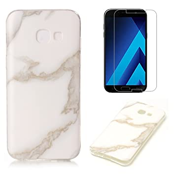 huge selection of 8b97b fee93 for Samsung Galaxy A5 2017 A520 Marble Case with Screen Protector,OYIME  Creative Glossy White Marble Pattern Design Protective Bumper Soft Silicone  ...