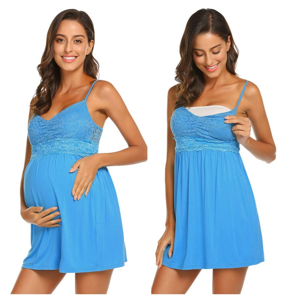 Ekouaer Womens Maternity Nursing Nightgown Dress Sleeveless Lingerie V Neck Lace Hospital Breastfeeding Sleepwear