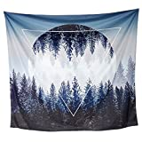 Tapestry Wall Hanging, Tenaly Sunset Forest and Mountains Wall Tapestry with Art Nature Home Decorations for Living Room Bedroom Dorm Decor in 59.1x78.7 Inches