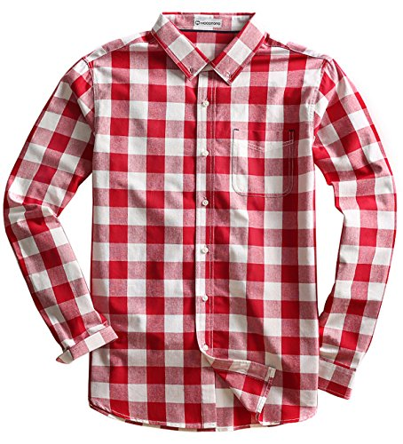 MOCOTONO Men's Long Sleeve Plaid Button Down Cotton Casual Shirts White and Red X-Large