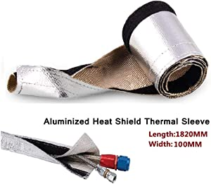 Sporacingrts Metallic Heat Shield Heat Shroud - Aluminized Sleeving for Ultimate Heat Protection (with Hook and Loop Closure):L 71.65'' W:3.94''