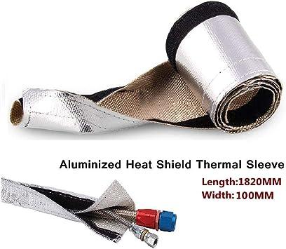 """Dart 1/"""" x 25/' Protection Header Exhaust Heat Wrap Titanium with 8 Steel Ties"""
