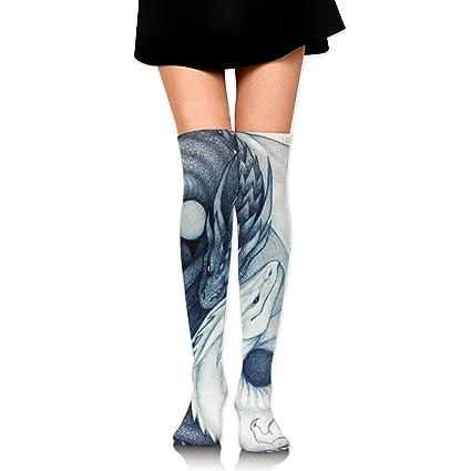 Amazoncom Gojdeyz Over Knee High Tube Stockings Yin Yang Dragon