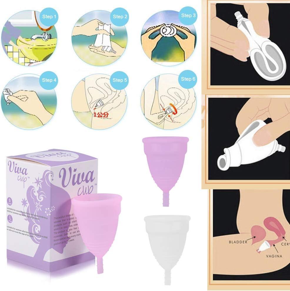 3Colores 2 Tamaños Copa menstrual, silicona reutilizable Hembra a prueba de fugas Copa menstrual Copa de higiene femenina Herramienta de cuidado de la ...