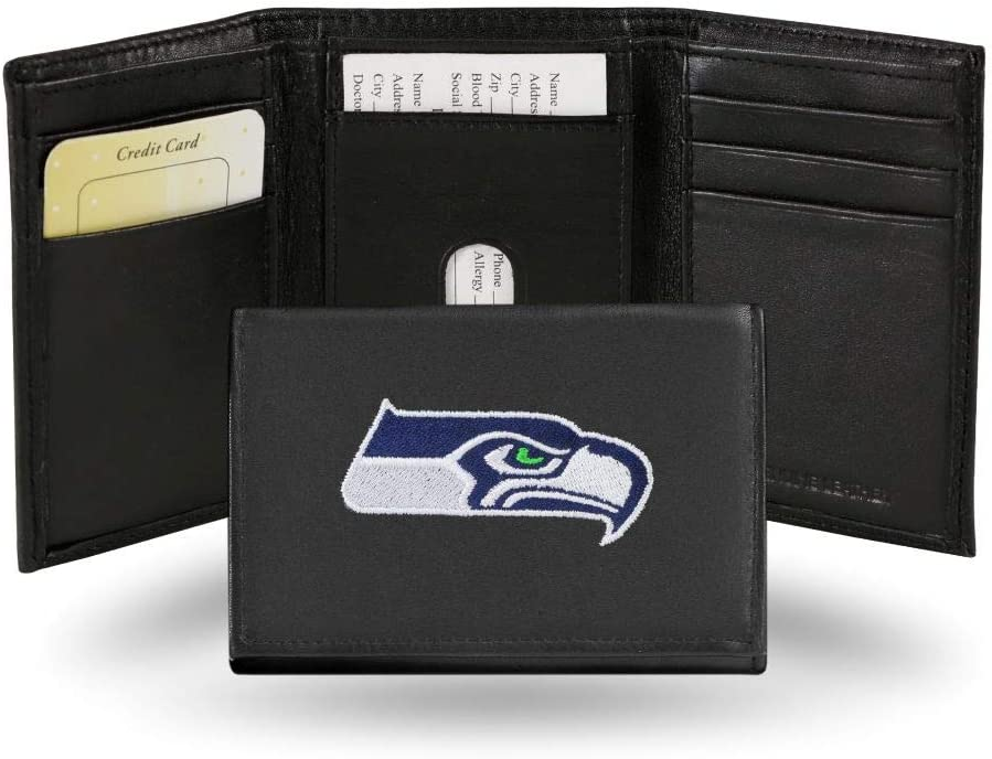 Hall of Fame Memorabilia Seattle Seahawks Embroidered Black Leather Trifold Wallet