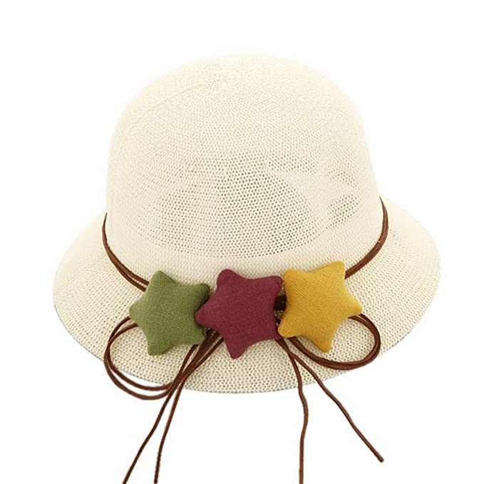 f8821414fc32eb Image Unavailable. Image not available for. Color: Star Toddler Straw  Summer Sun Beach Hats Kids Travel Broad-Brimmed Hat White